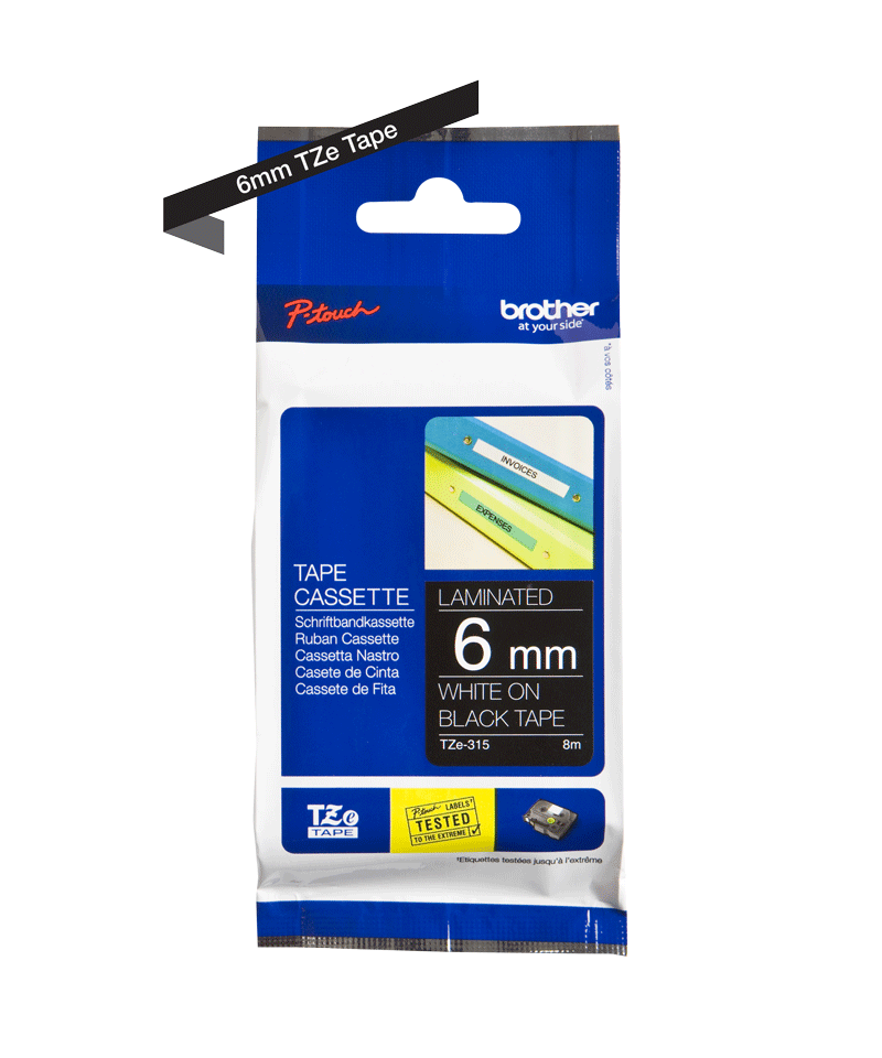 Cassette à ruban pour étiqueteuse TZe-315 Brother originale – Blanc sur noir, 6mm de large 2