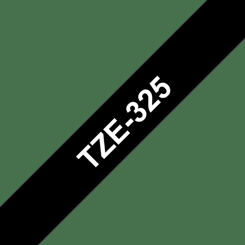 Cassette à ruban pour étiqueteuse TZe-325 Brother originale – Blanc sur noir, 9mm de large
