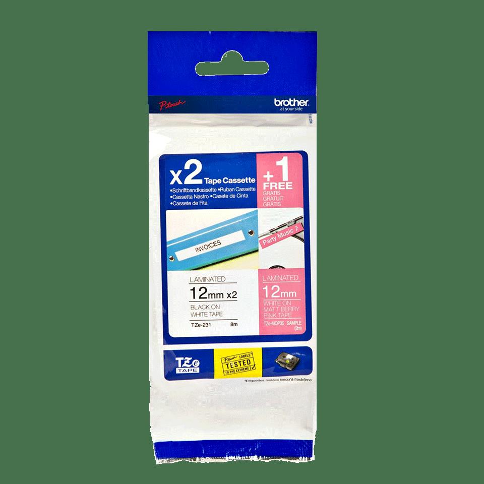 Pack de cassettes à ruban pour étiqueteuse TZe-32M3 Brother originales 2