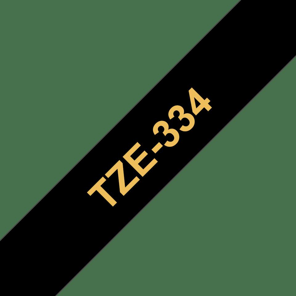 Cassette à ruban pour étiqueteuse TZe-334 Brother originale – Doré sur noir, 12mm de large 3
