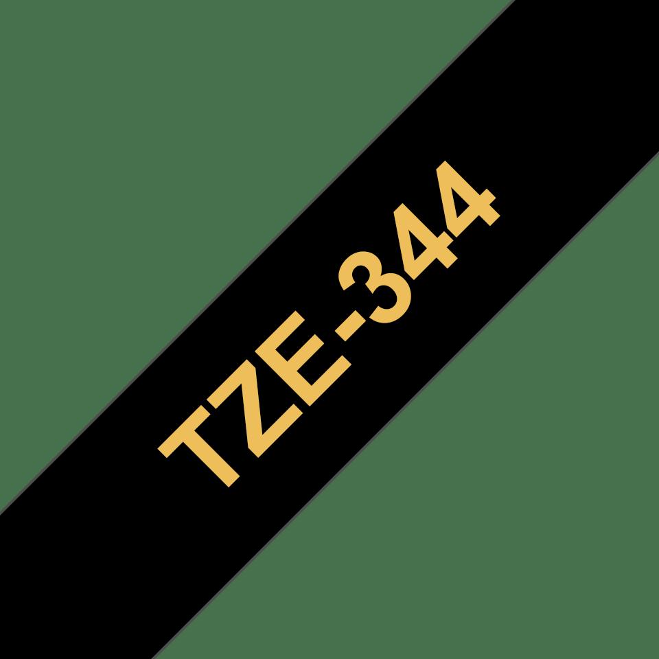 Cassette à ruban pour étiqueteuse TZe-344 Brother originale – Doré sur noir, 18mm de large