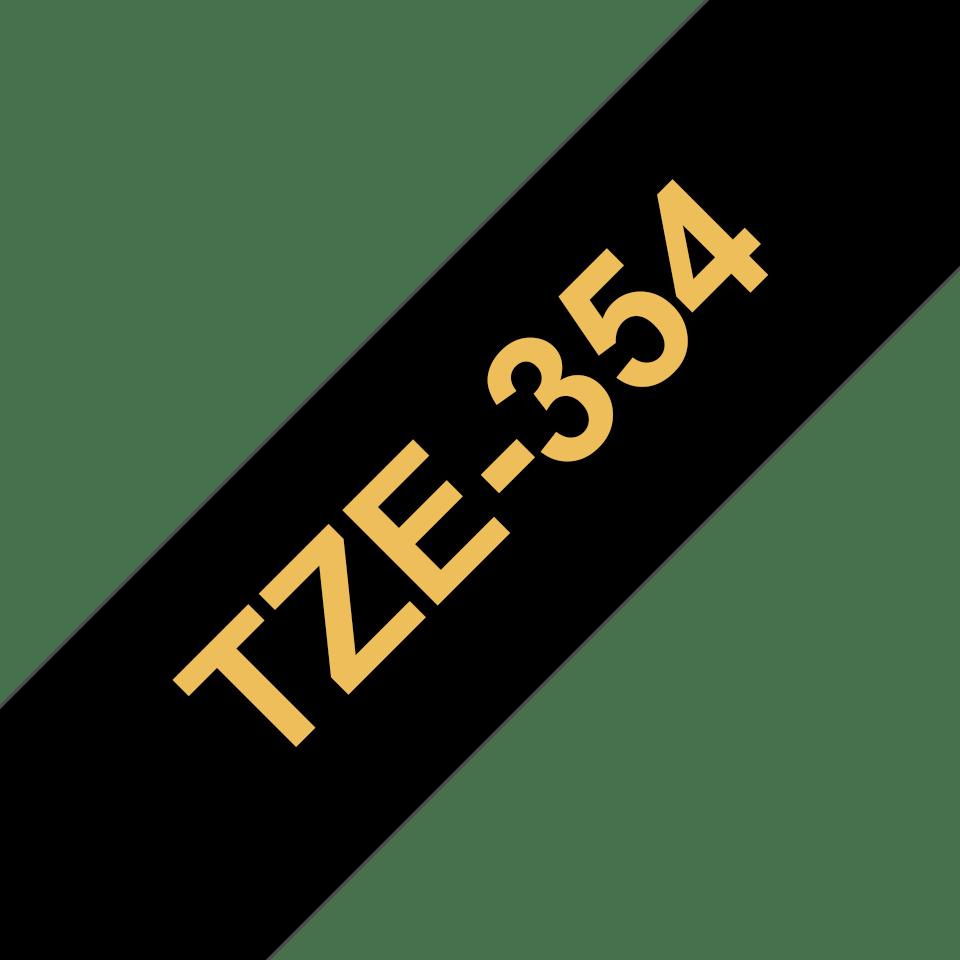 Cassette à ruban pour étiqueteuse TZe-354 Brother originale – Doré sur noir, 24mm de large
