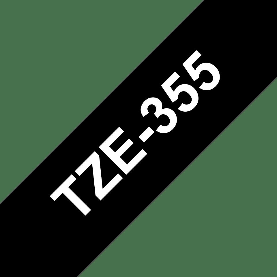 Cassette à ruban pour étiqueteuse TZe-355 Brother originale – Blanc sur noir, 24mm de large