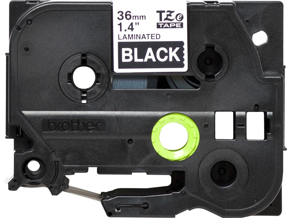 Cassette à ruban pour étiqueteuse TZe-365 Brother originale – Blanc sur noir, 36mm de large 0