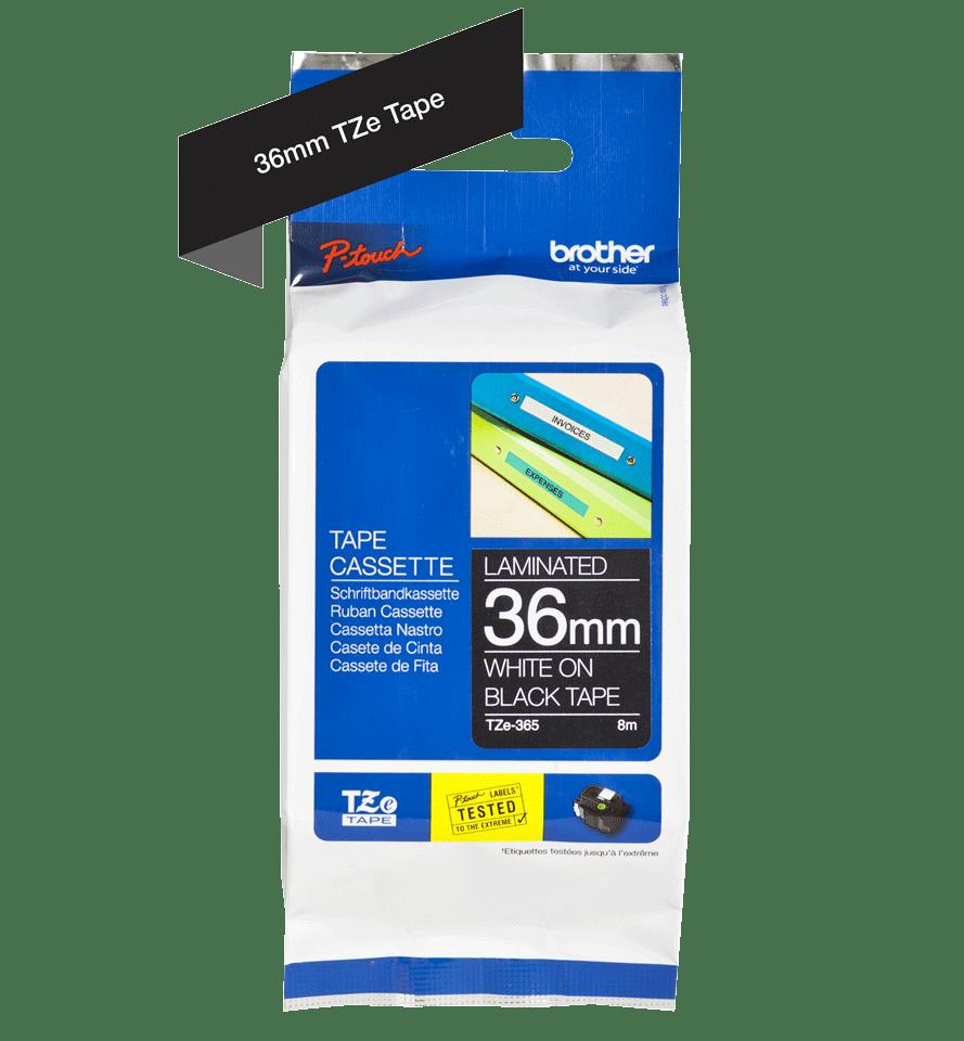Cassette à ruban pour étiqueteuse TZe-365 Brother originale – Blanc sur noir, 36mm de large 3
