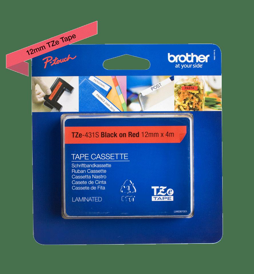 Cassette à ruban pour étiqueteuse TZe-431S Brother originale – Noir sur rouge, 12mm de large 3