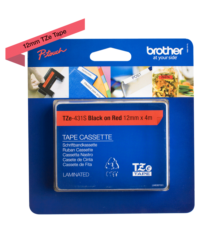 Cassette à ruban pour étiqueteuse TZe-431S Brother originale – Noir sur rouge, 12mm de large 1