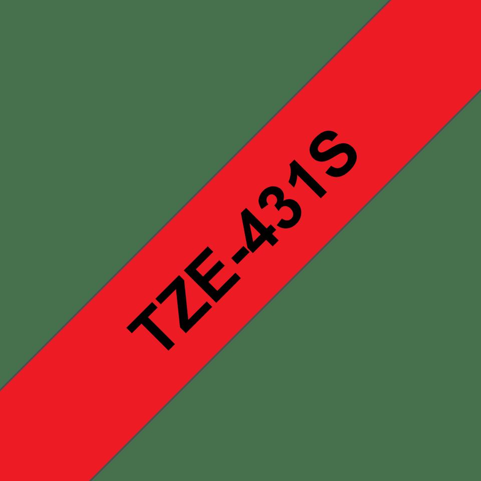 Cassette à ruban pour étiqueteuse TZe-431S Brother originale – Noir sur rouge, 12mm de large