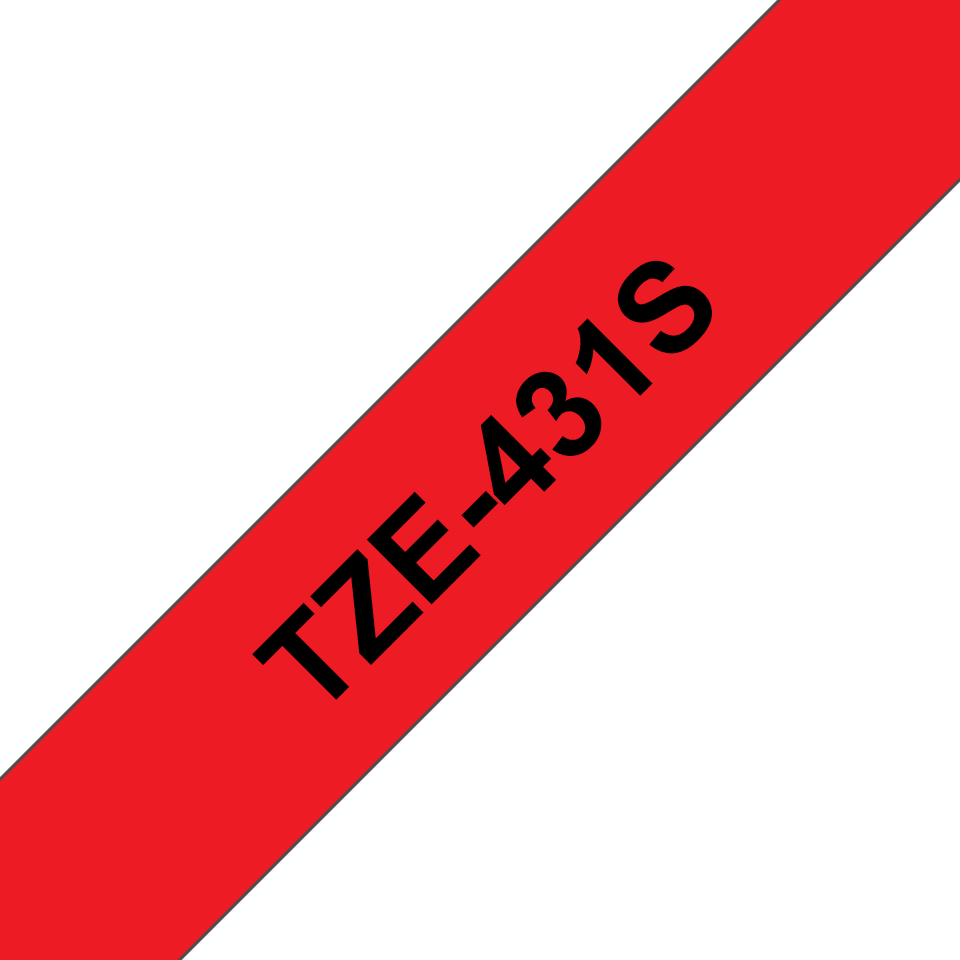 Cassette à ruban pour étiqueteuse TZe-431S Brother originale – Noir sur rouge, 12mm de large 2