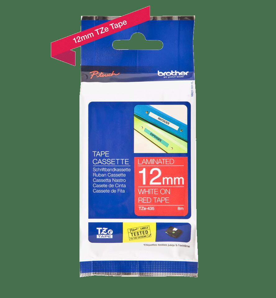 Cassette à ruban pour étiqueteuse TZe-435 Brother originale – Blanc sur rouge, 12mm de large 3