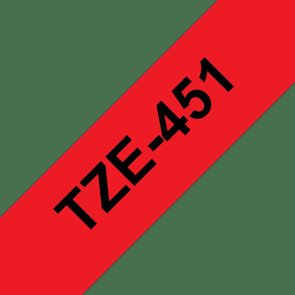 Cassette à ruban pour étiqueteuse TZe-451 Brother originale – Noir sur rouge, 24mm de large