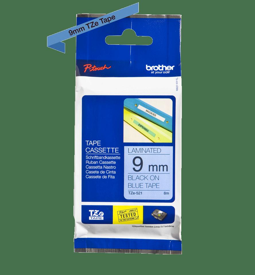 Cassette à ruban pour étiqueteuse TZe-521 Brother originale – Noir sur bleu, 9mm de large 3