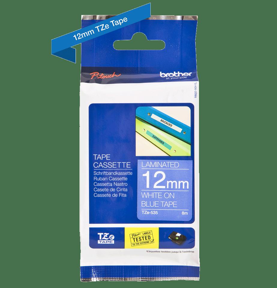 Cassette à ruban pour étiqueteuse TZe-535 Brother originale – Blanc sur bleu, 12mm de large 3