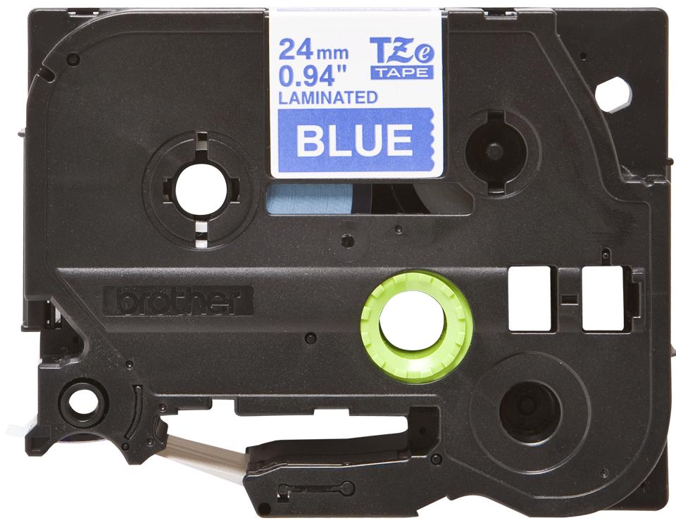 Cassette à ruban pour étiqueteuse TZe-555 Brother originale – Blanc sur bleu, 24mm de large 0