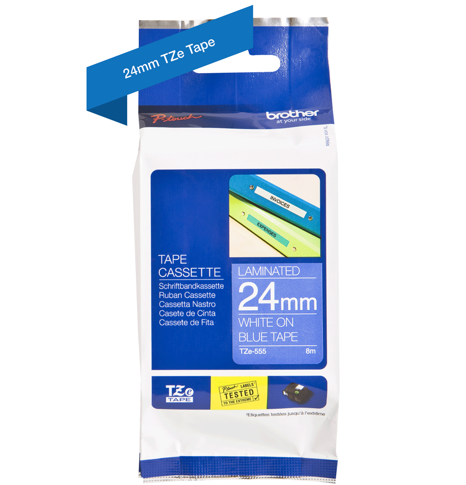 Cassette à ruban pour étiqueteuse TZe-555 Brother originale – Blanc sur bleu, 24mm de large 1