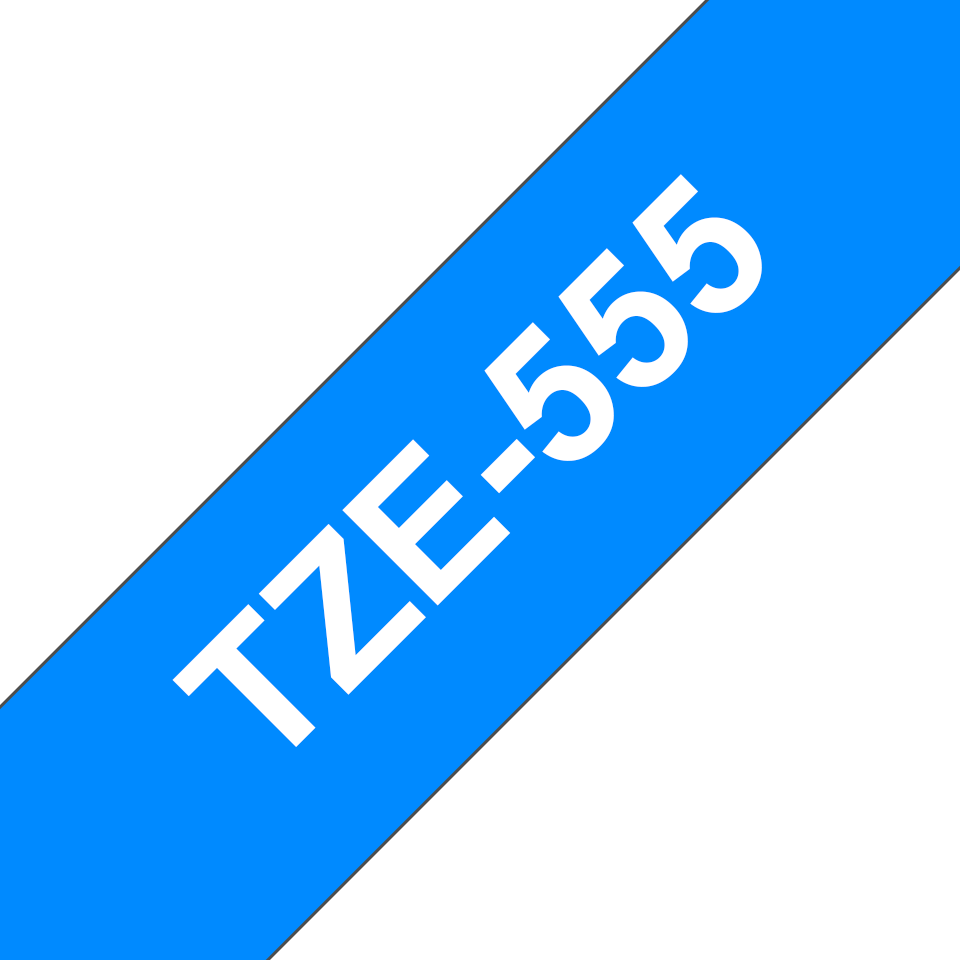 Cassette à ruban pour étiqueteuse TZe-555 Brother originale – Blanc sur bleu, 24mm de large