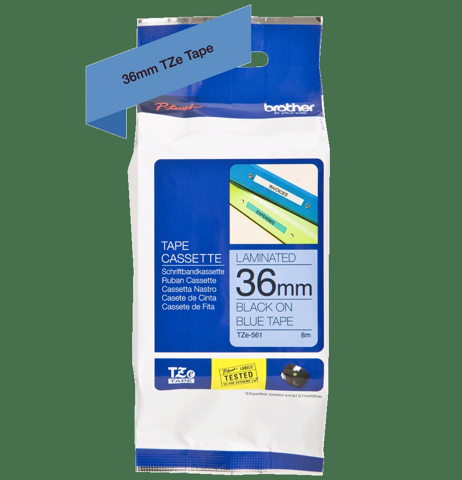 Cassette à ruban pour étiqueteuse TZe-561 Brother originale – Noir sur bleu, 36mm de large 3