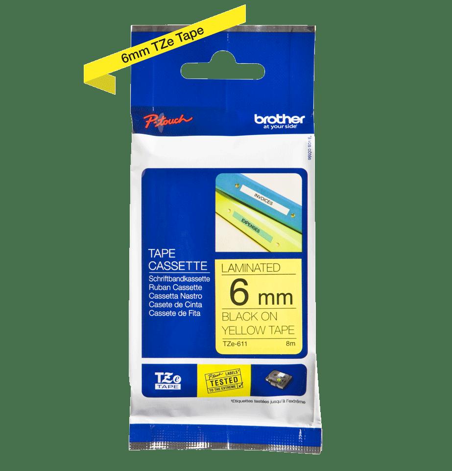 Cassette à ruban pour étiqueteuse TZe-611 Brother originale – Noir sur jaune, 6mm de large 3