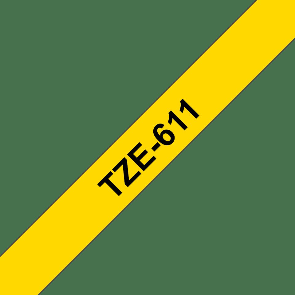 Cassette à ruban pour étiqueteuse TZe-611 Brother originale – Noir sur jaune, 6mm de large