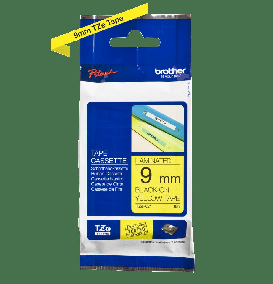 Cassette à ruban pour étiqueteuse TZe-621 Brother originale – Noir sur jaune, 9mm de large 3