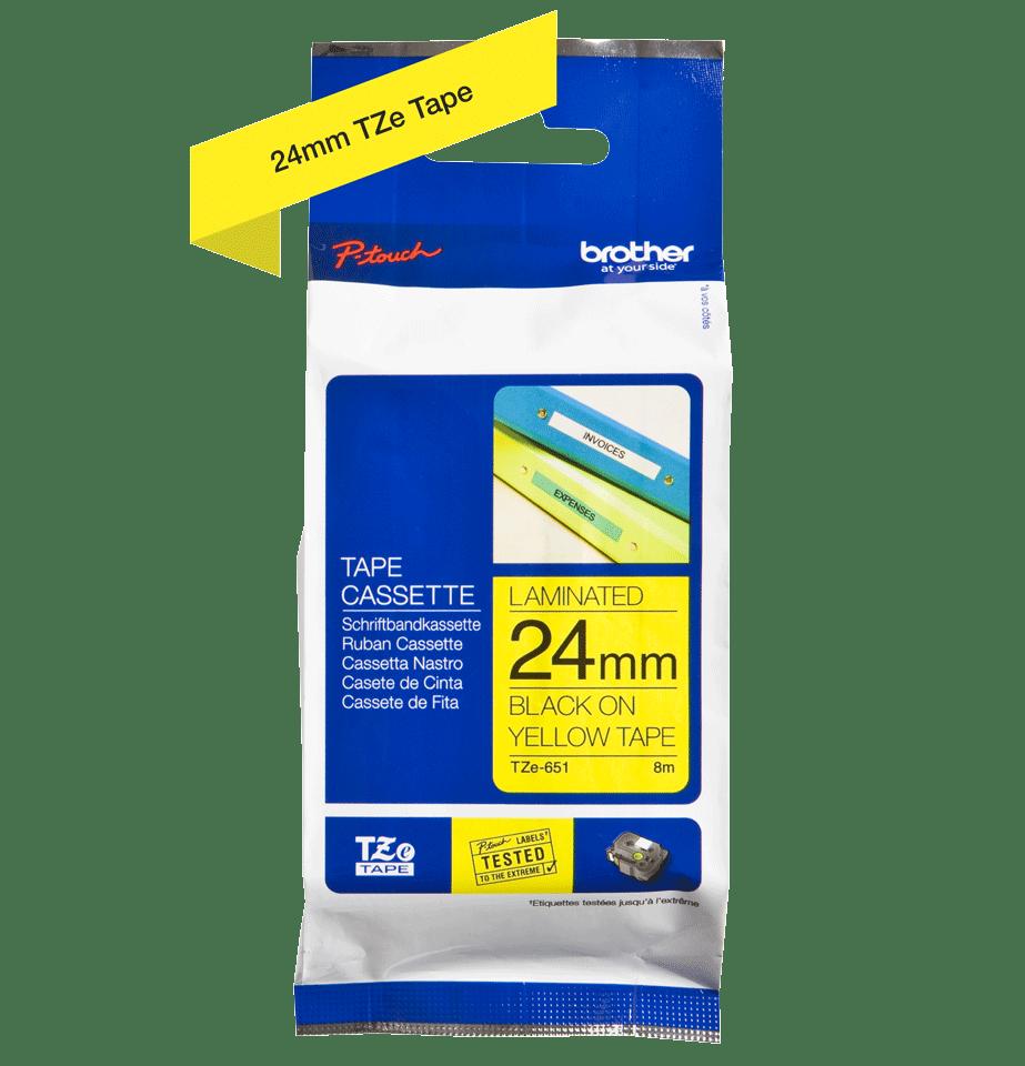 Cassette à ruban pour étiqueteuse TZe-651 Brother originale – Noir sur jaune, 24mm de large 3