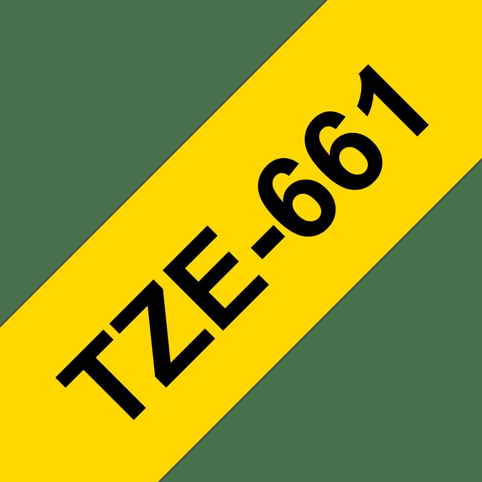 Cassette à ruban pour étiqueteuse TZe-661 Brother originale – Noir sur jaune, 36mm de large