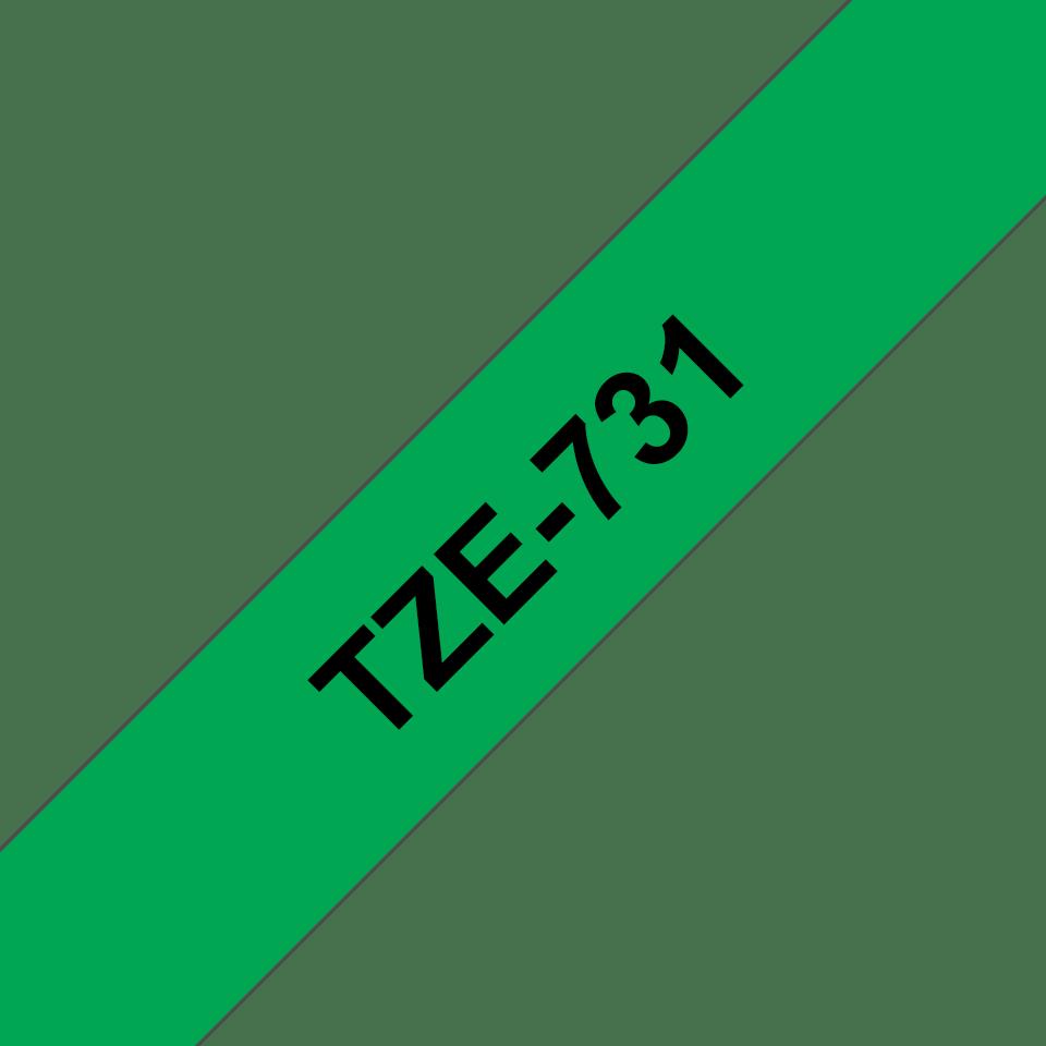 Cassette à ruban pour étiqueteuse TZe-731 Brother originale – Noir sur vert, 12mm de large 3