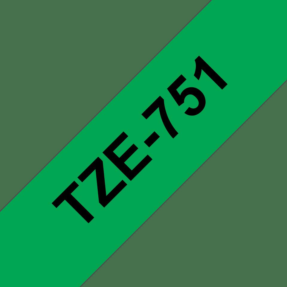 Cassette à ruban pour étiqueteuse TZe-751 Brother originale – Noir sur vert, 24mm de large