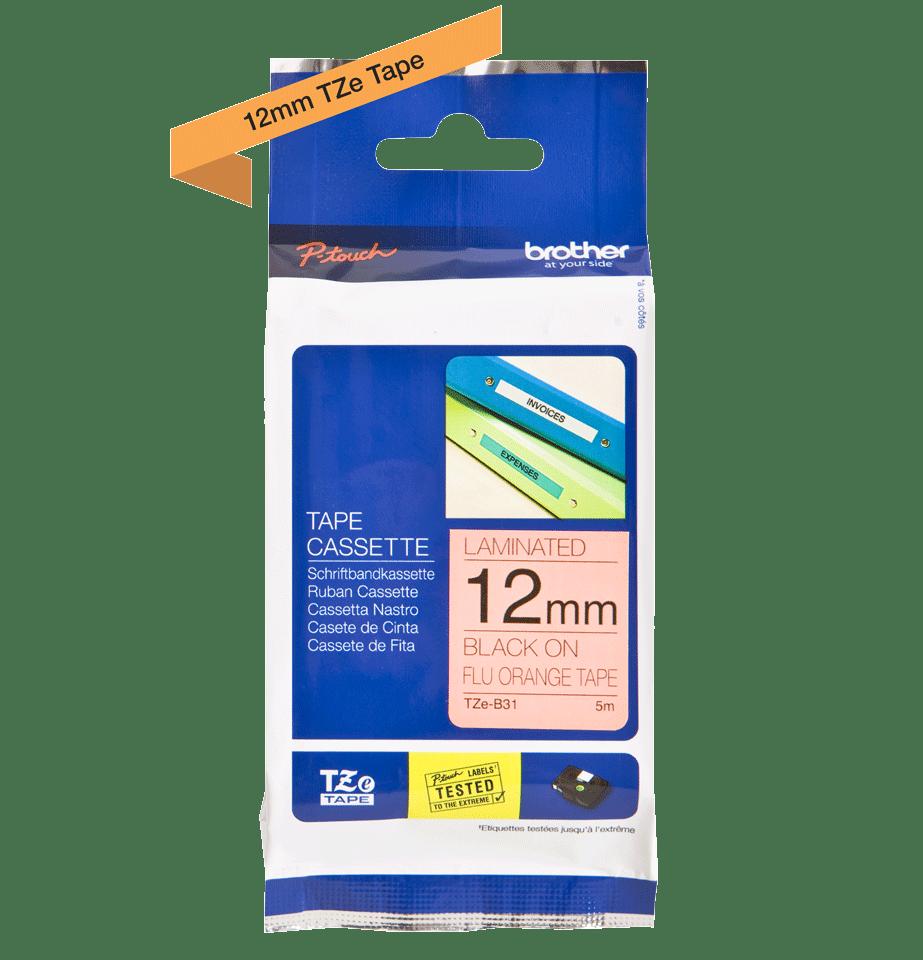 Cassette à ruban pour étiqueteuse TZe-B31 Brother originale – Orange fluorescent, 12mm de large 3