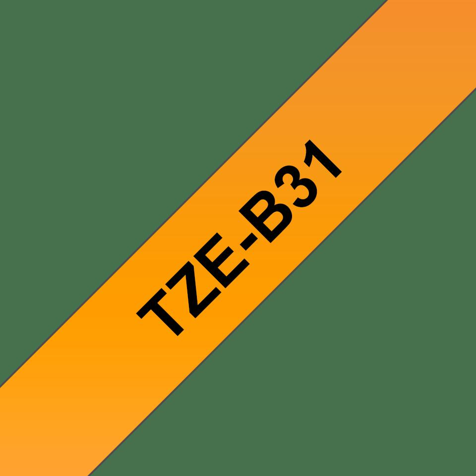 Cassette à ruban pour étiqueteuse TZe-B31 Brother originale – Orange fluorescent, 12mm de large