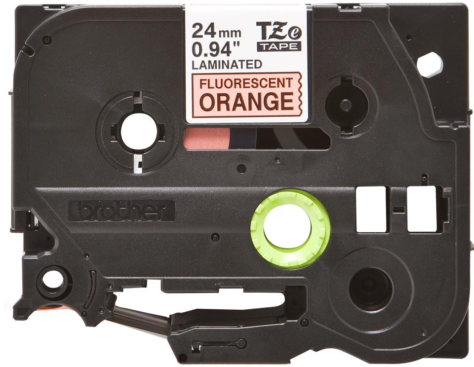 Cassette à ruban pour étiqueteuse TZe-B51 Brother originale – Orange fluorescent, 24mm de large 2