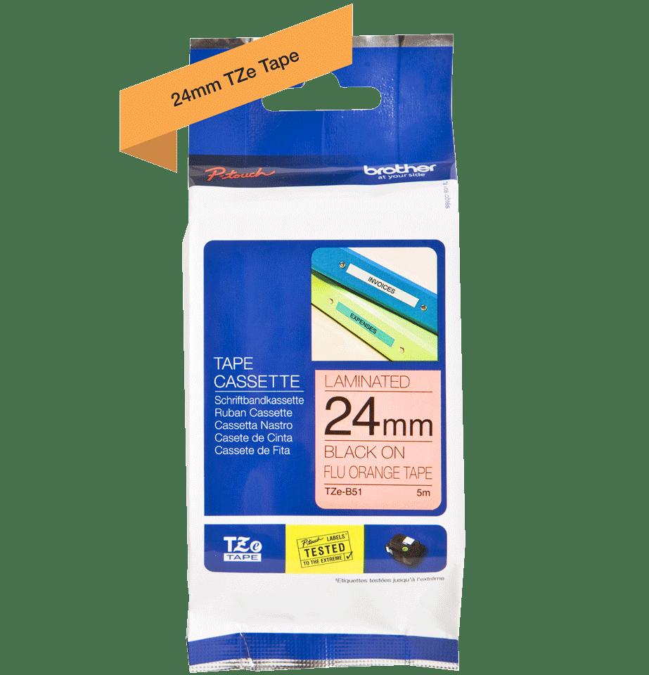 Cassette à ruban pour étiqueteuse TZe-B51 Brother originale – Orange fluorescent, 24mm de large 3