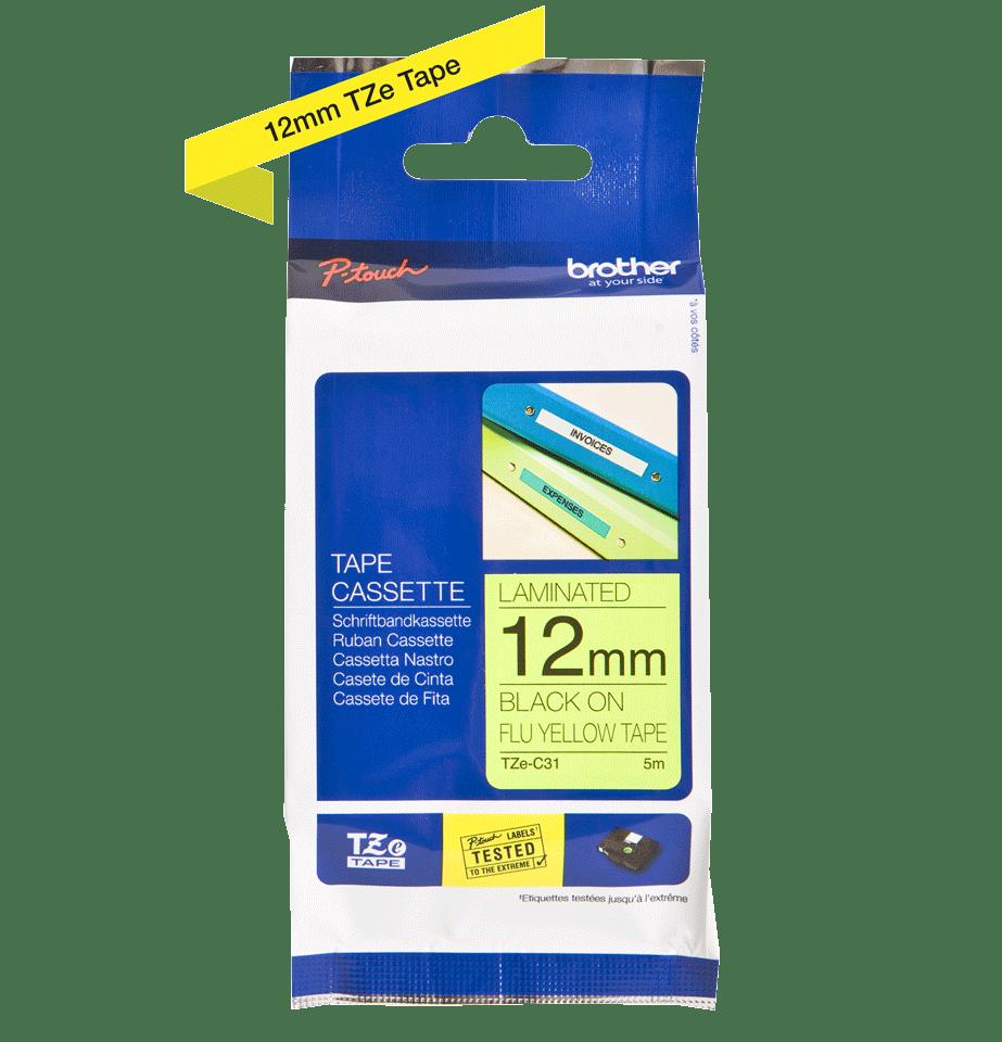 Cassette à ruban pour étiqueteuse TZe-C31 Brother originale – Jaune fluorescent, 12mm de large 3