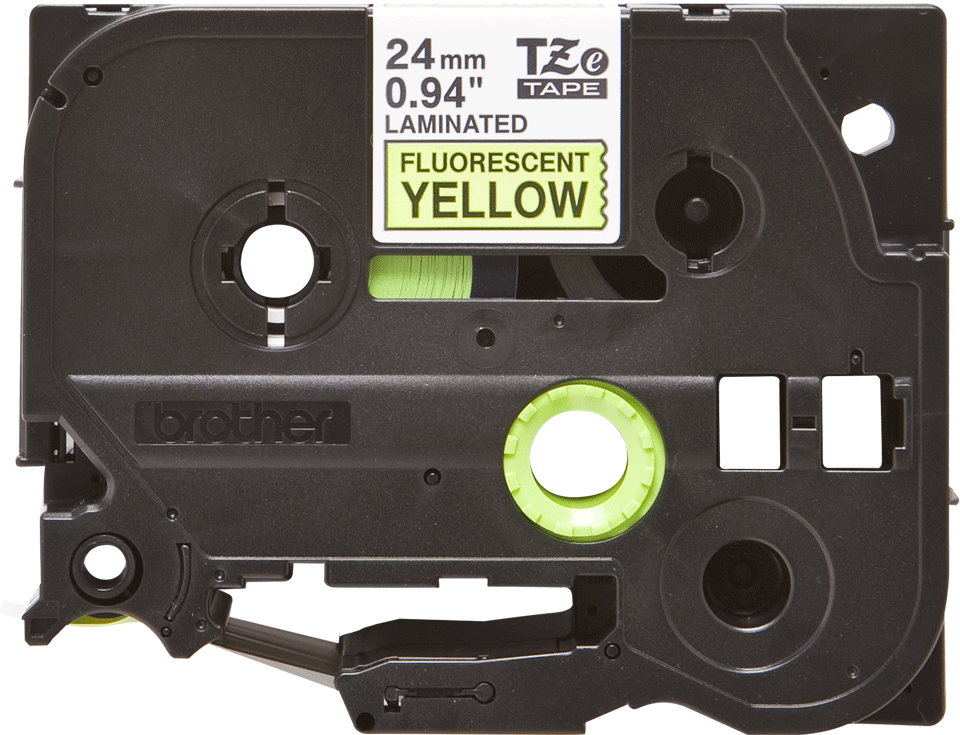 Cassette à ruban pour étiqueteuse TZe-C51 Brother originale – Jaune fluorescent, 24 mm de large 0