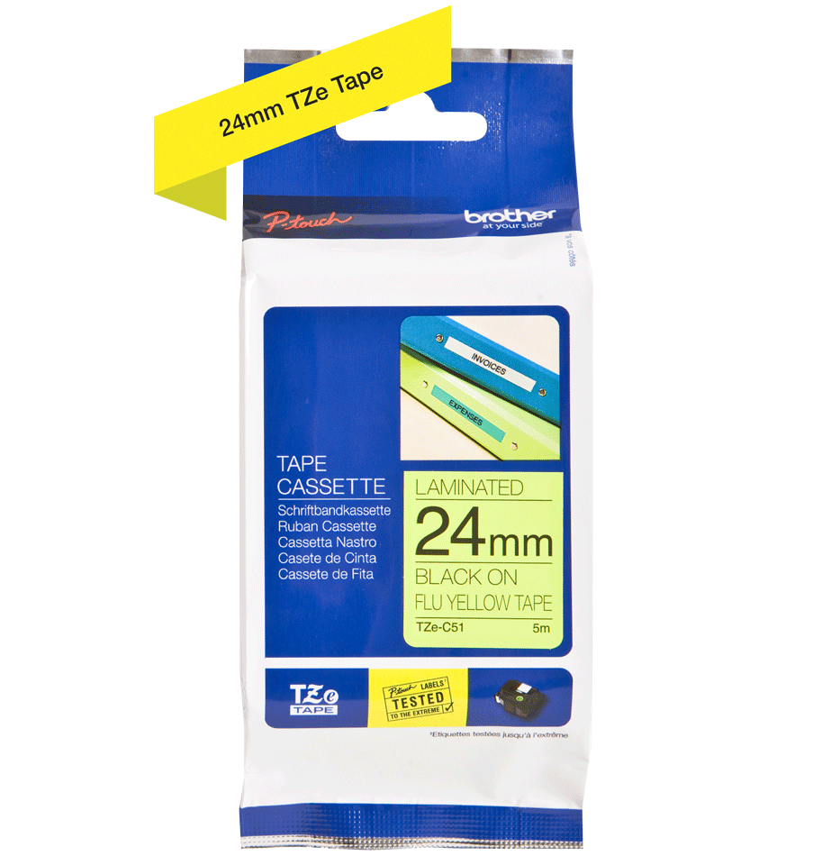 Cassette à ruban pour étiqueteuse TZe-C51 Brother originale – Jaune fluorescent, 24 mm de large 1