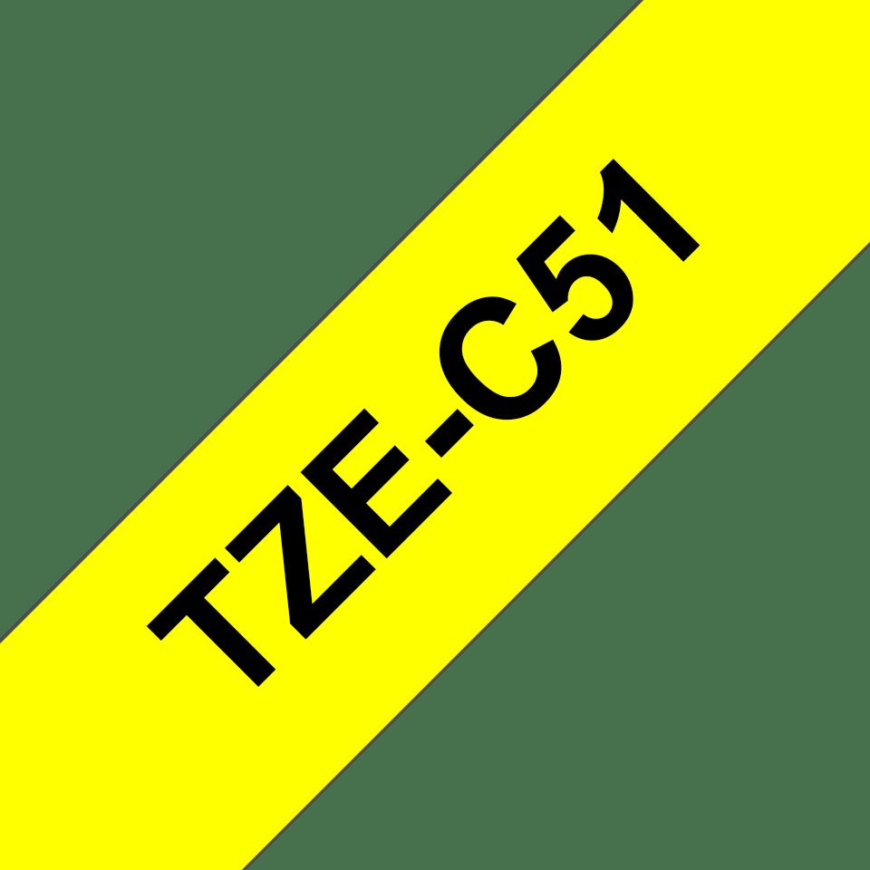 Cassette à ruban pour étiqueteuse TZe-C51 Brother originale – Jaune fluorescent, 24mm de large