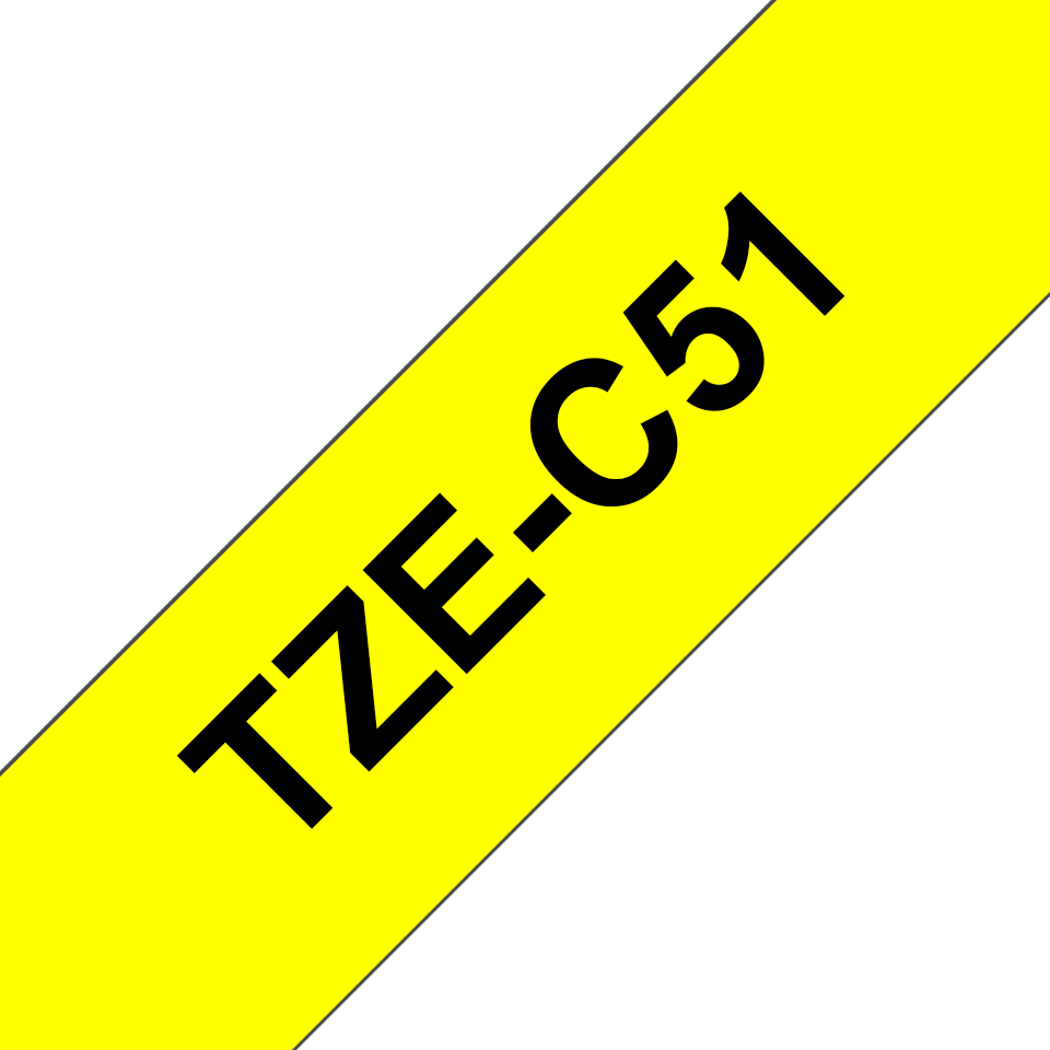 Cassette à ruban pour étiqueteuse TZe-C51 Brother originale – Jaune fluorescent, 24 mm de large 2