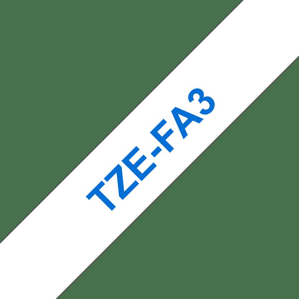 Cassette à ruban textile TZe-FA3 Brother originale – Bleu sur blanc, 12mm de large