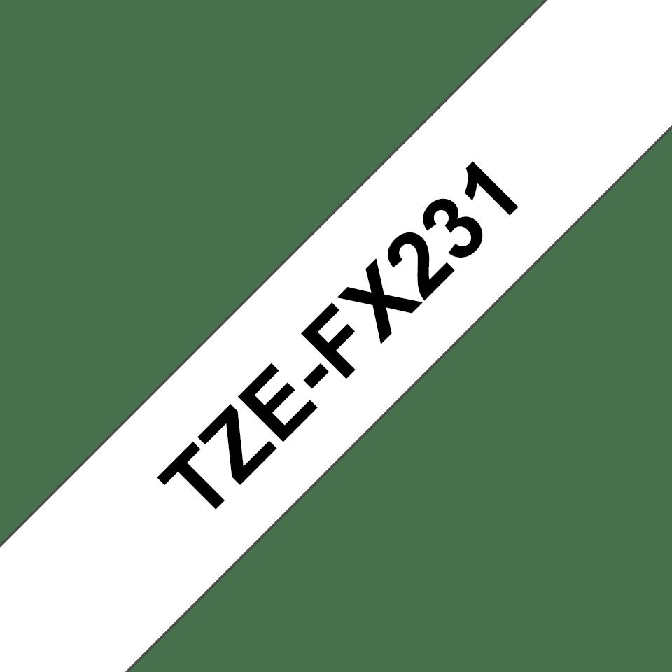 Cassette à ruban pour étiqueteuse TZe-FX231 Brother originale – Noir sur blanc, 12mm de large