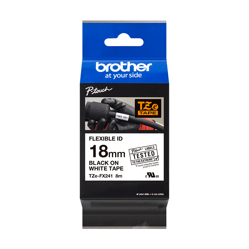 Cassette à ruban pour étiqueteuse TZe-FX241 Brother originale – Noir sur blanc, 18mm de large 1