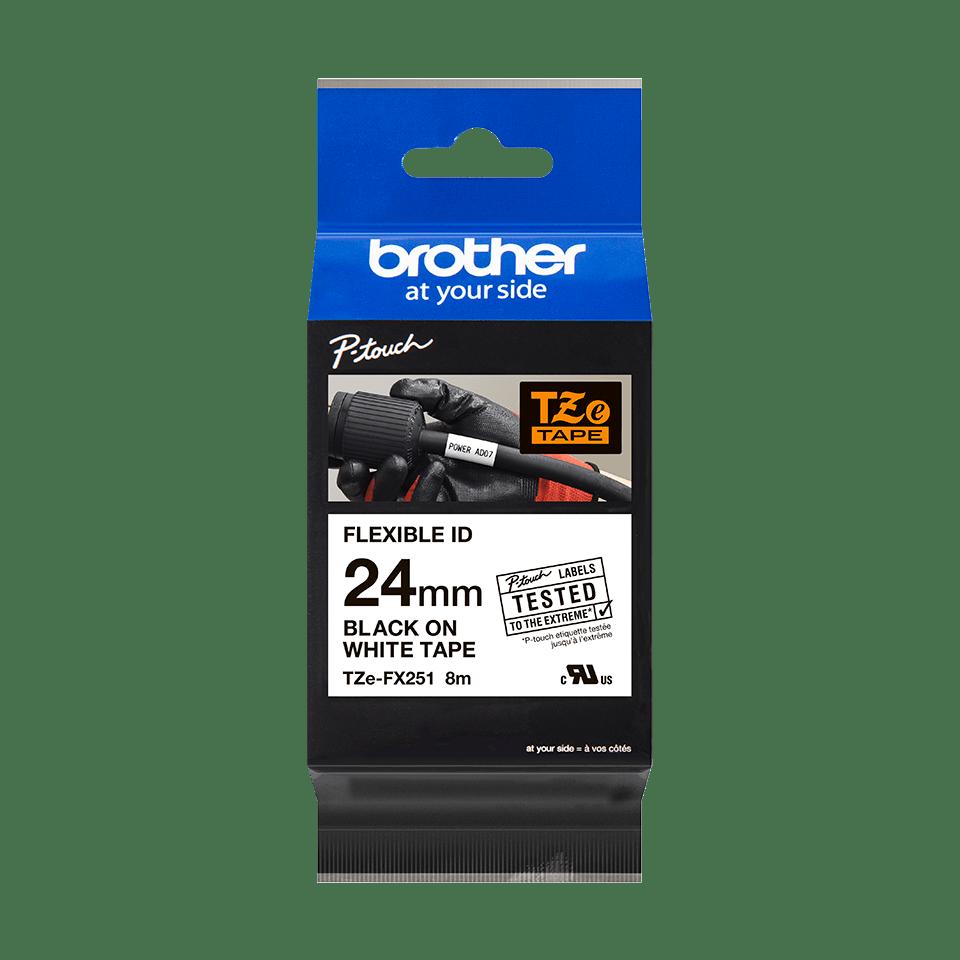Cassette à ruban pour étiqueteuse TZe-FX251 Brother originale – Noir sur blanc, 24mm de large 1