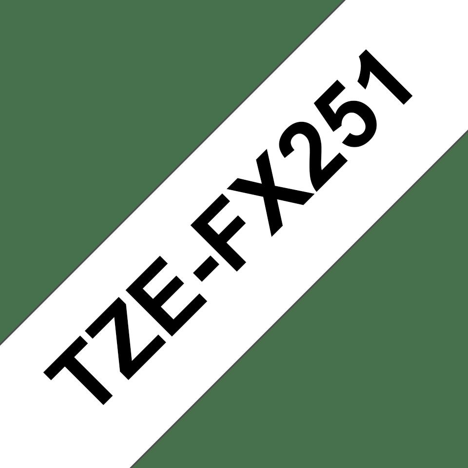 Cassette à ruban pour étiqueteuse TZe-FX251 Brother originale – Noir sur blanc, 24mm de large