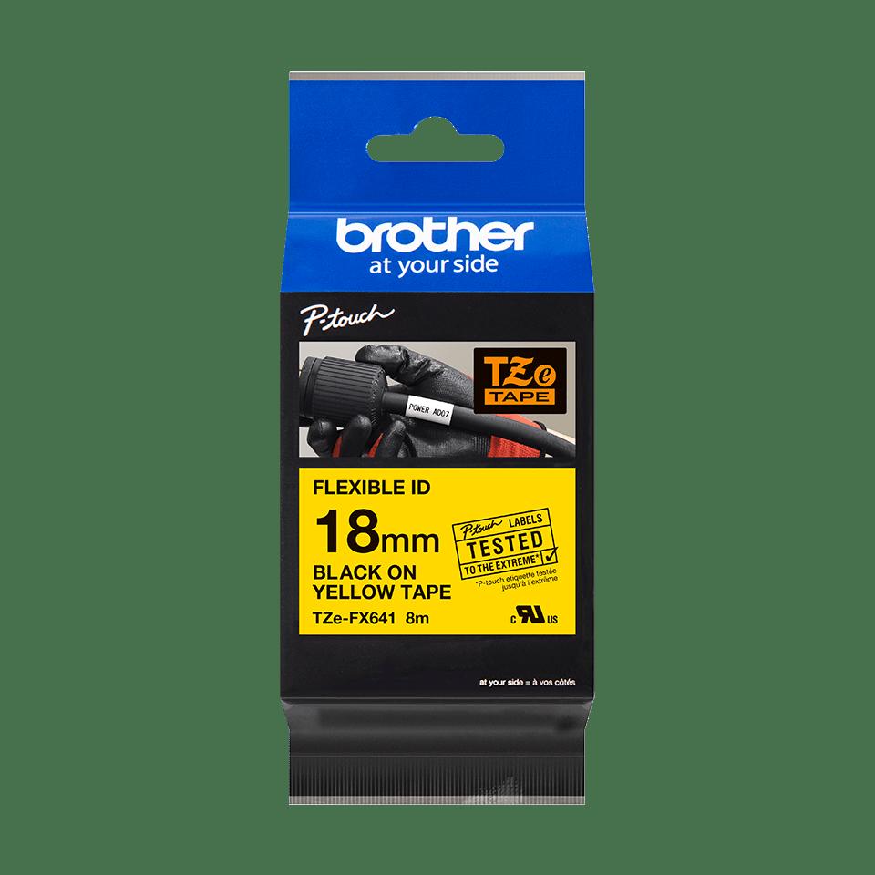 Cassette à ruban pour étiqueteuse TZe-FX641 Brother originale – Noir sur jaune, 18mm de large 3