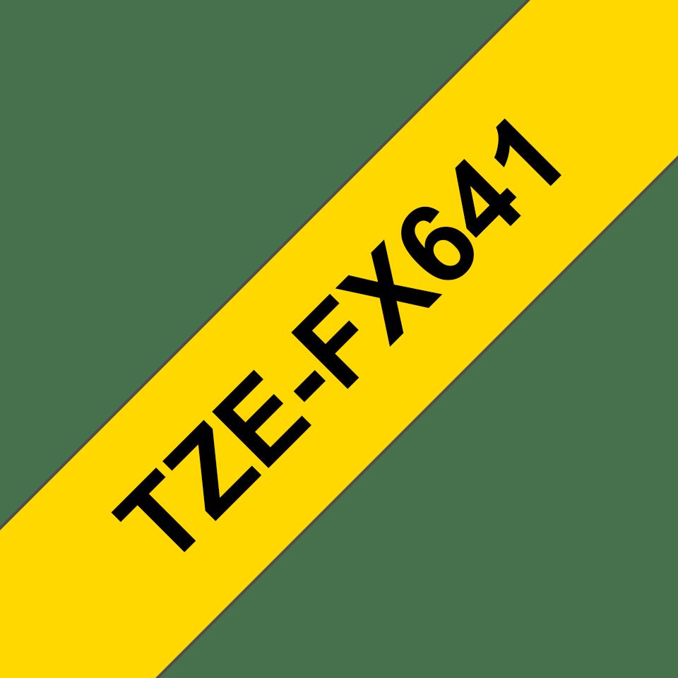 Cassette à ruban pour étiqueteuse TZe-FX641 Brother originale – Noir sur jaune, 18mm de large