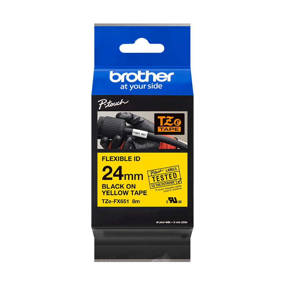 Ruban flexible pour étiqueteuse TZe-FX651 Brother original – Noir sur jaune, 24 mm de large 2