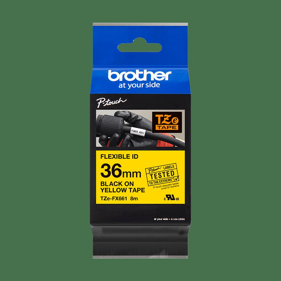Cassette à ruban pour étiqueteuse TZe-FX661 Brother originale – Noir sur jaune, 36mm de large 3