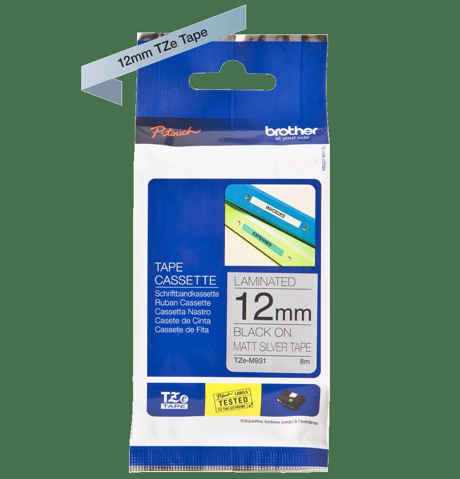 Cassette à ruban pour étiqueteuse TZe-M931 Brother originale – Noir sur argent mat, 12mm de large 3