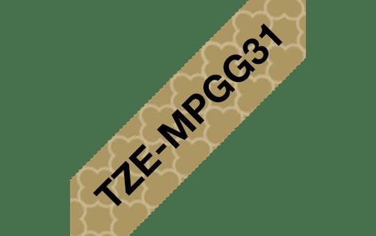 Cassette à ruban pour étiqueteuse TZe-MPGG31 Brother originale – Noir sur motifs or, 12mm de large 3