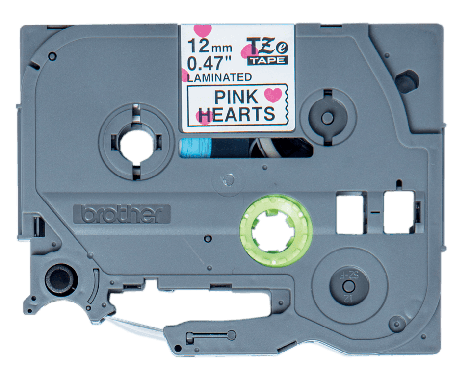 Cassette à ruban pour étiqueteuse TZe-MPPH31 Brother originale – Noir sur motif à cœurs roses, 12mm de large 0