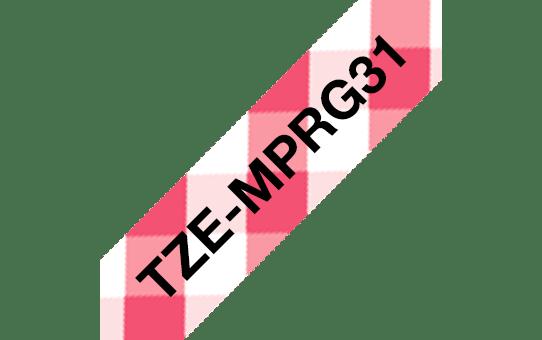 Ruban pour étiqueteuse TZe-MPRG31 Brother original – Noir sur motif Vichy rouge, 12mm de large 3